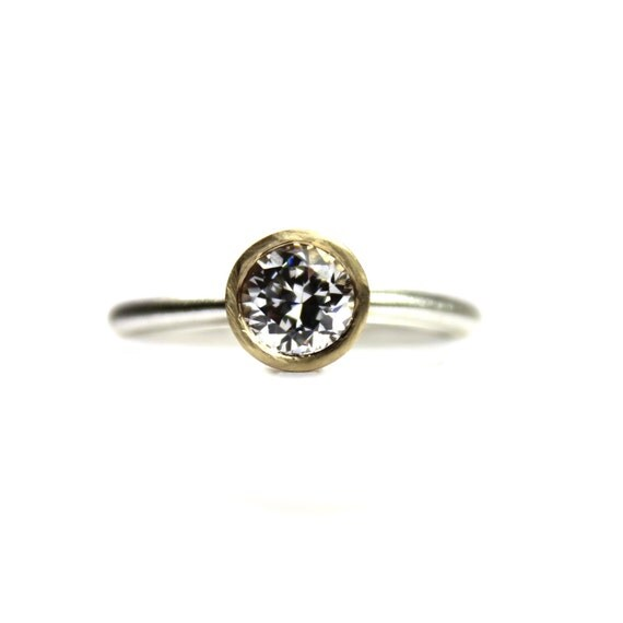 Modern Silver Gold CZ Engagement Ring - Zengagement