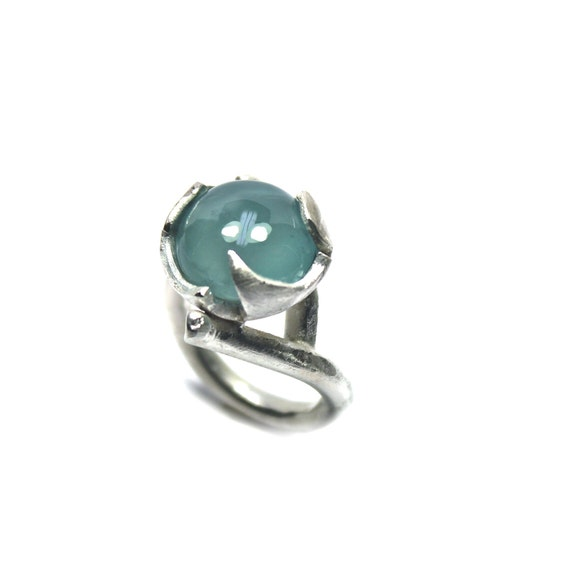 Large Aquamarine Sterling Silver Flower Ring Blue Cloudy - Fiore Azzurro