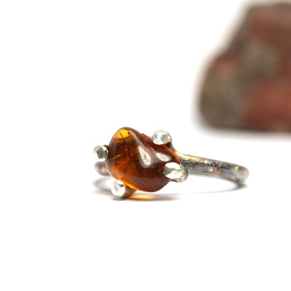 Rustic Sterling Silver Baltic Amber Ring - Amberly