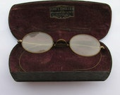 Early 1900s Wire Rimmed Glasses and Case