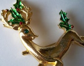 Vintage 1960s Reindeer Holiday Brooch -- Marked Gerry's