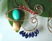 Sterling silver and gold filled turquoise \/ lapis Egyptian pendant \/ necklace  Eye of Horus