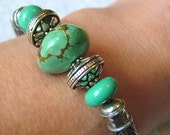 Viking knit bracelet handmade from natural blue turquoise and sterling silver 7 inches