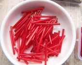 Vintage bugle beads extra long 30mm   tube beads Ruby Red lined needle bead Czech