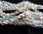 Vintage Czech glass bead lot 1 FuLL Strand faceted Crystal AB Iridescent  Round 7mm beads