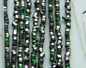 Antique French steel Micro beads 38 Beads per inch green steel blue tiny tube beads