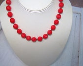 Vintage glass beaded Choker Holiday Red