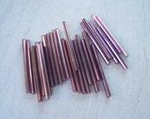 Vintage super  long 30mm  bugle  tube bead Light  Purple  lined needle beads Cosplay designs