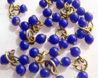 Blue Vintage Glass bead with loop drops miniature doll buttons  13 x 3  section dangles