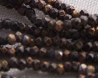 Vintage French steel cut metal beads chocolate brown diamond cut reclaimed bead handbag repairs loom supplies Boho Rustic
