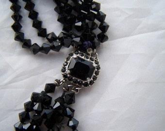 Vintage Designer  7 strand Jet black Glass Bead Necklace chocker Castlecliff Rhinestone encrusted Clasp