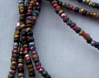 antique VINTAGE French steel bead strand mixed colors supplies trim pursre repiar