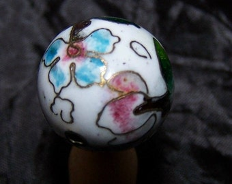 Vintage Cloisonne beads  2x  flower circa 1940s pink blue glass inlaid  enamel LOVELY