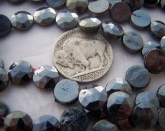 Victorian Glass Nailhead beads 9mm Gun Metal grey faceted top round