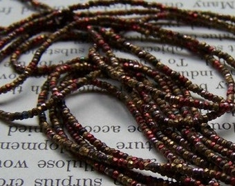 Antique French Steel cut bead strand colored metal beads metal  seed beads vintage beads reclaimed 1920s purse restorations  Marsi10