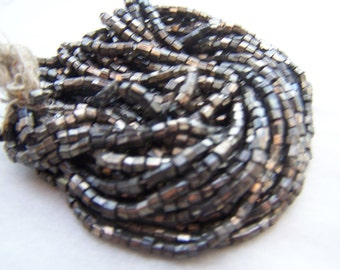 Vintage Czech bead hank glass hex cut large beads 12 BPI Gun Metal Gray / restorations / loom work / jewelry designs / antique beaded bags
