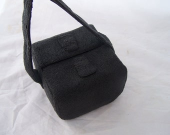 Vintage box purse flip spring closure Black glass beads Amazing piece so fun and Sassy