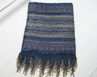 Antique French Steel cut beaded handbag Amazing Fringe Blue Steel Copper and Gold beads