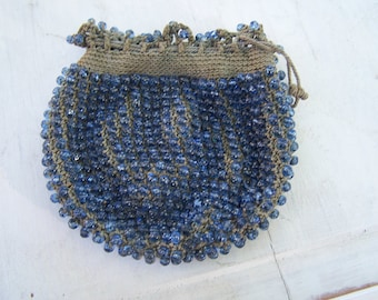 Antique beaded bag purse pouch Reticule dimple Blue  glass beads Crochet