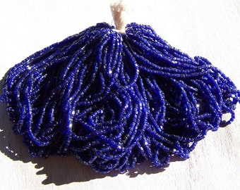 Vintage Czech  bead  hank mini  Cobalt  Blue Antique purse repair trim 2 cuts micro beads