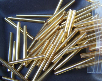 Vintage super  long 30mm  bugle  tube beads gold lined needle beads