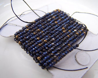 antique French steel cut beads strand  Purple Blue metal  diamond facetes  Incredible sparkle