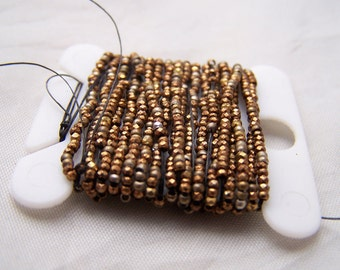 Antique French steel cut bead  strand Gold and Copper Amazing color Top Quality 20 inchs