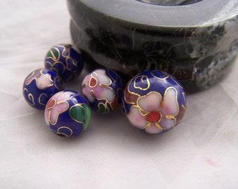 Vintage Cloisonne beads  5x  flower circa 1940s  blue glass  enamel handmade