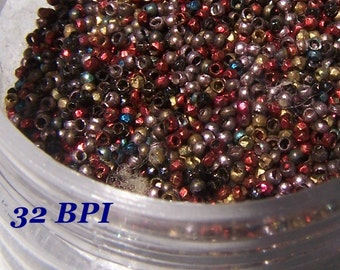 Antique French steel Micro beads 32 Beads per inch Red  steel blue tiny tube beads
