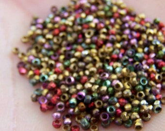 Antique French Steel cut  bead mix  Fiesta Colors Red Purple Blue Gold 21 BPI