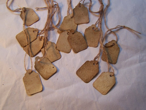 Old fashion distressed price tag labels paper string hanging tags Bulk Order 100x