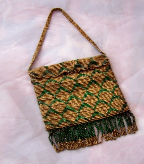 Antique French beaded purse Made in Paris Original label ENCOR Green metal and brass beads  checker board