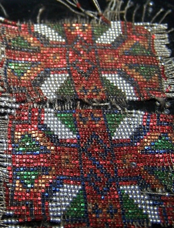Antqiue French beaded purse square Micro beads 38 BPI Aluminum Steel