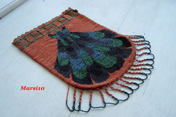 Antique French Steel cut  beaded  purse bag pouch drawstring Feather design