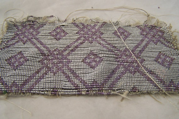 Antique  French metal beads Lavender and Aluminum beaded purse swatch panel  4 Bead Stock 100 inches inches of beads