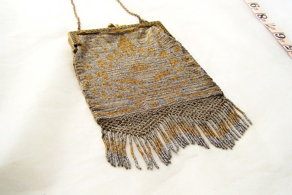 AMaZiNg Antique French Steel cut  beaded handbag  purse  Perfect Fringe frame Metal seed beads Nice Patina
