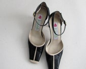 For Martha: Vintage black and ivory mary jane heels by Daniela de Amante