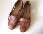 Size 11 leather woven huarache sandals, made in Mexico