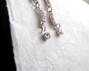 Silver and rhinestone drop earrings