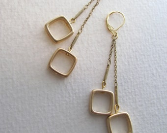 14k gold plate geometric square dangle earrings