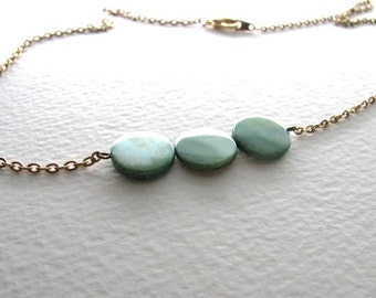 Teal circle shell beads on 14k gold plate chain, geometric minimalist necklace, green necklace, bridesmaid jewelry