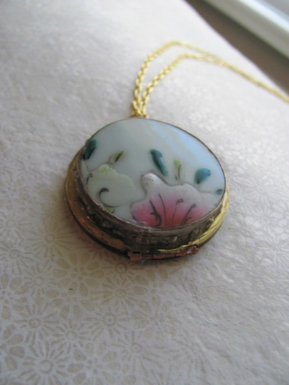 Aqua, green and magenta flower locket, upcycled vintage jewelry by MSV