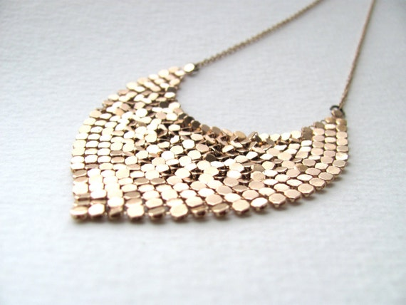 Gold sequin bib necklace, vintage inspired, triangle pendant
