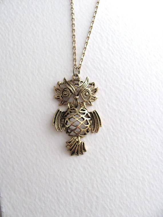 Movable owl pendant necklace on long delicate 14k gold plated chain