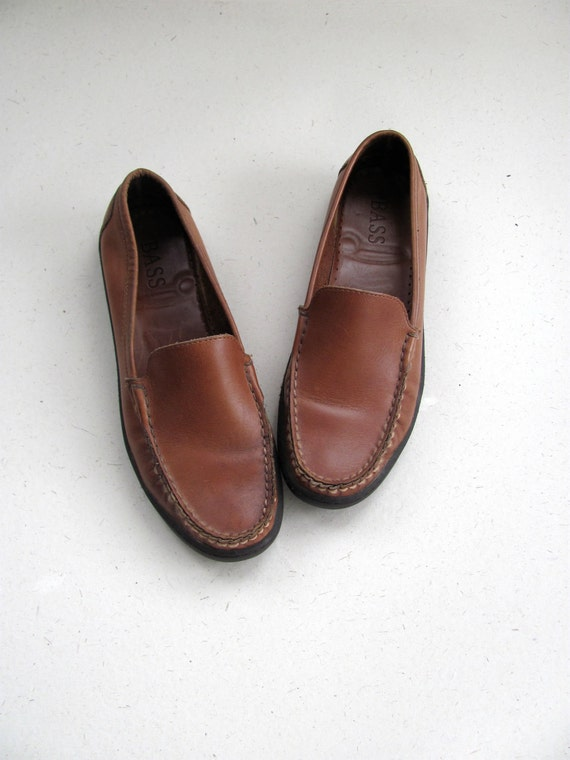 Leather slip on loafers by Bass, size 7