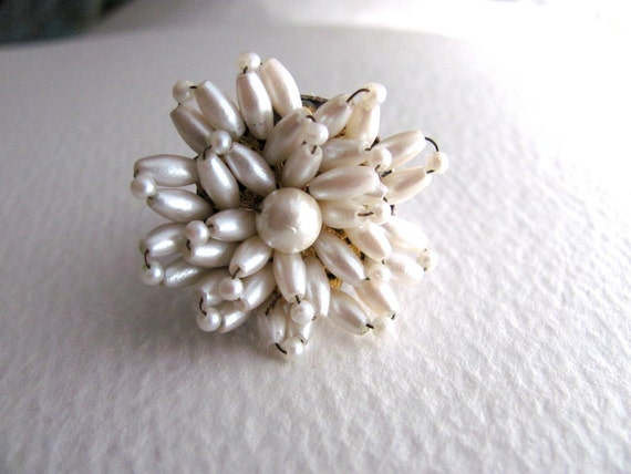 Pearly sunburst cocktail ring, upcycled vintage bead cluster on adjustable band