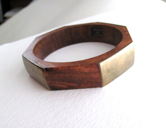Vintage wood and brass bangle, geometric bracelet, made in India