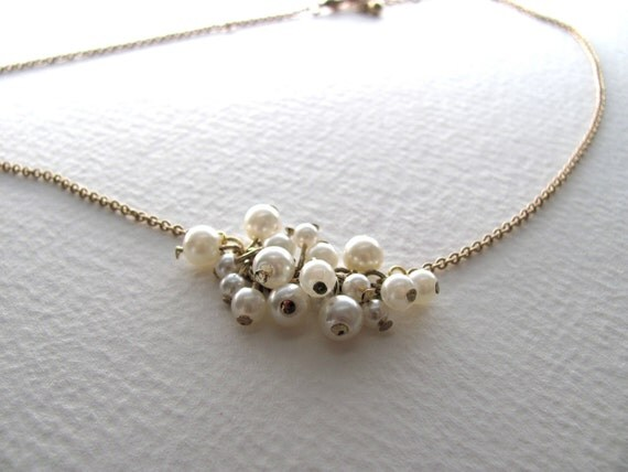 Pearl cluster necklace on gold tone chain