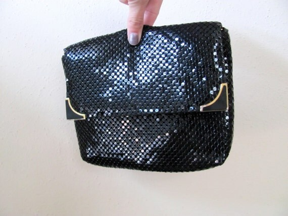 ON SALE: Black sequin evening bag with gold hardware, cross-body cocktail purse, disco fabulous