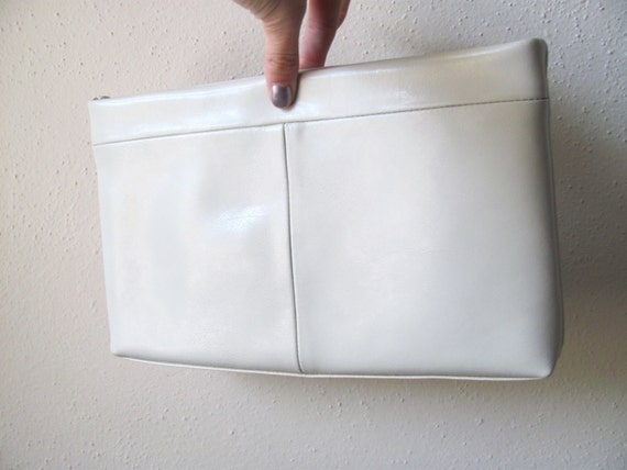 Cream leather cross body purse or clutch